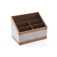 Portamandos polipiel gris claro con rombos y remate beige 5 espacios 20x12x15h cm