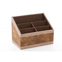 Portamandos polipiel marrón y remate beige 5 espacios 20x12x15h cmcPortamandos polipiel marrón y remate beige 5 espacios 20x12x1
