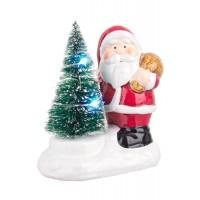 Adorno de Navidad figura Papa Noel con árbol de Navidad y luz led 8x5x10h cm