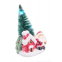 Adorno de Navidad figura árbol de Navidad con casita y Papa Noel con luces led 7x6x11h cm