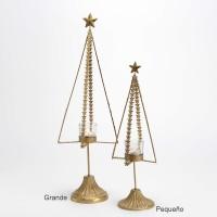 Árbol Navidad portavelas metal dorado con estrellas grande Ø11x53h cm