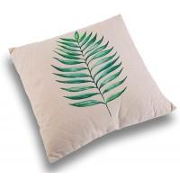 Cojín con relleno fondo beige con hoja palmera alargada 45x45 cm