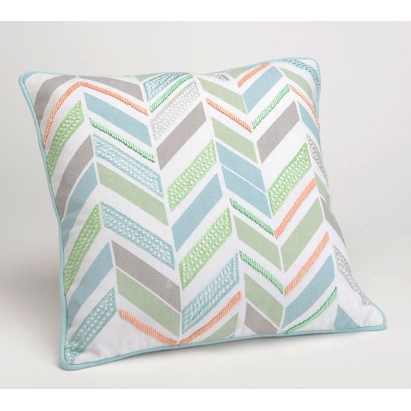 Cojin algodón con relleno blanco con bordados y abalorios verde, azul y gris Perla Scandi 40x40cm