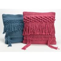 Cojín algodón con relleno étnico flecos y nudos azul o fucsia 40x40 cm