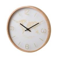 Reloj de pared marco color madera y esfera blanca estampado dorado mundo Ø33 cm