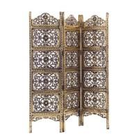 Biombo de madera troquelada en color dorado oscuro envejecido 3 paneles Kiran 150x2,1x180h cm