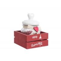 Bote cristal con tapa cerámica blanca con corazón en caja madera roja Merry Christmas 13.5x19h cm