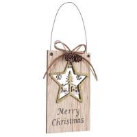 Adorno colgante madera para puerta estrella dorada con paisaje Navidad 10x16h cm