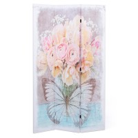 Biombo 3 paneles jarron flores rosas y mariposa 120x2,5x180 cm