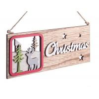 Adorno colgante cartel madera Christmas Reno con árboles para puerta 22,5x9h cm