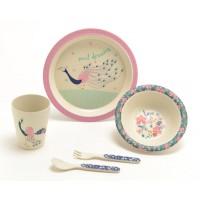 Vajilla infantil fibra de bambú pavo real tonos rosa y azul 5 piezas Jade
