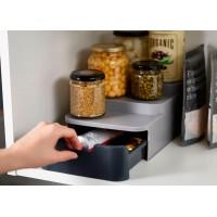 Organizador de armario despensa escalonado compacto con cajón gris CupboardStore Joseph