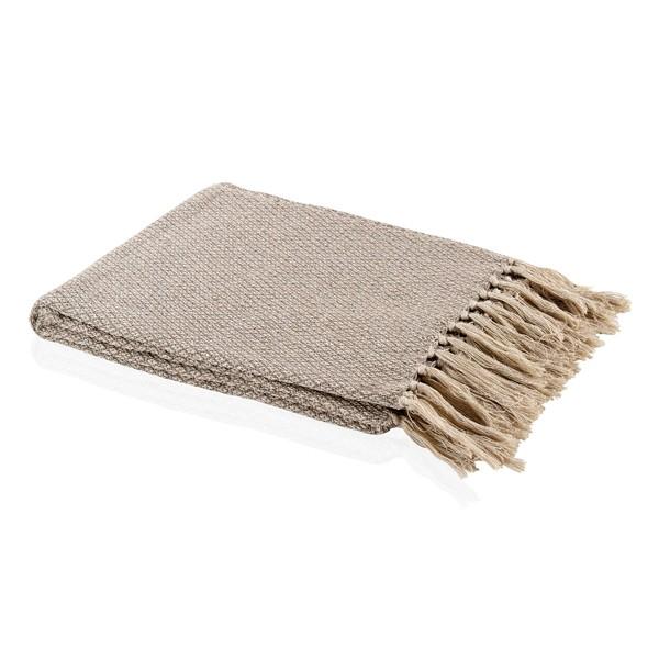 Manta algodón beige y marfil mezclilla con flecos 125x150 cm