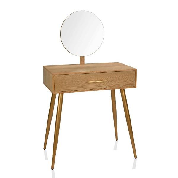 Consola tocador moderno con espejo en madera de fresno con cajón 70X40X124h cm