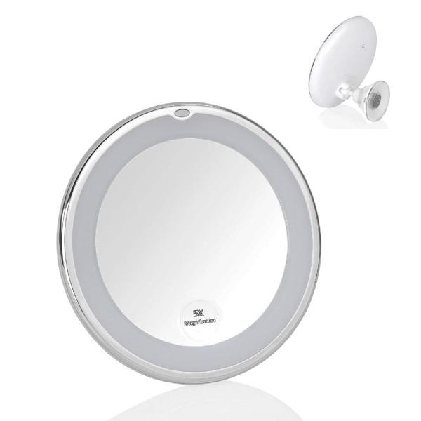 Espejo de aumento x5 redondo con luz led y pie con ventosa Ø17,5X19,5 cm