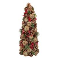 Árbol Navidad de piñas doradas y bolas rojas Olga 20,5x48h cm