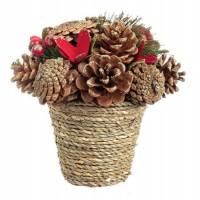 Composición bouquet en maceta cuerda Navidad Olga piñas doradas y bolas rojas 18x17h cm