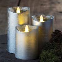 Set 3 velas plateadas con luz led Sara