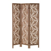 Biombo madera marrón troquelada hojas de palmera 3 paneles 40x6x170cm 120x2x170cm