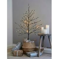 Arbol de Navidad ramas marrones nevadas con 160 luces leds Alex 120h cm