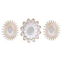 Set 3 espejos decorativos marco resina blanco con dorado