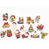 Imanes nevera con personajes navideños de cerámica:Papa Noel, campanas, pino, reno, corona, acebo...