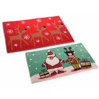 Felpudo rectangular navideño fibra de coco estampados Navidad rojo o verde 60x40 cm