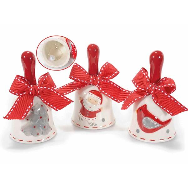 Campanilla cerámica con lazo rojo decoración navideña: Papa Noel, Pájaro o Árbol