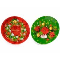 Plato fuente Navidad vidrio Merry Christmas rojo o verde 30cm