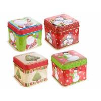 Caja metálica cuadrada pequeña con estampados Navidad 4 modelos colores rojo y verde 8x8x6,5h cm