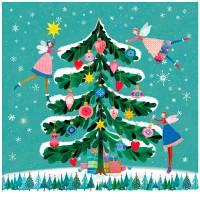 Servilletas papel navideñas estampado árbol Navidad con hadas Happy Xmas Tree PPD 33x33cm 20 unidades