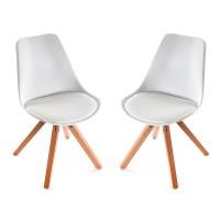 Pack 2 sillas de comedor nórdicas patas madera tapizado polipiel blanca 48x52,5x83h cm