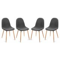 Pack 4 sillas de comedor patas metálicas tapizado gris bustelo 44x52x86,5h cm