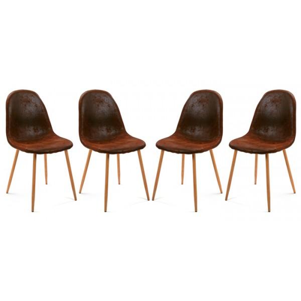 Pack 4 sillas de comedor patas metálicas tapizado efecto cuero marrón 44x52x86,5h cm