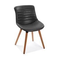 Silla de comedor patas madera tapizado polipiel gris 49x54x80h cm