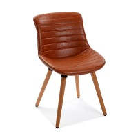 Silla de comedor patas madera tapizado polipiel color cuero 49x54x80h cm
