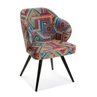 Silla de comedor patas madera tapizado estampado colores Abenaki 59x58x80h cm