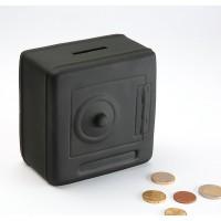 Hucha cerámica caja fuerte negra 7x12x12 cm