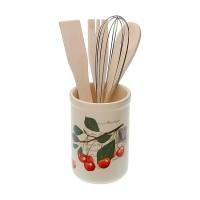 Portautensilios bote+ 4 utensilios porcelana cerezas con hojas Cherries Ø10x14h cm