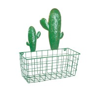 Cesta metal rejilla verde con cactus para pared 33x15x40h cm