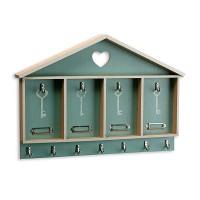Cuelga llaves forma casita corazón verde en madera para pared con 11 ganchos 45,5x4x31h cm