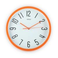 Reloj de pared marco naranja fondo blanco 30cm