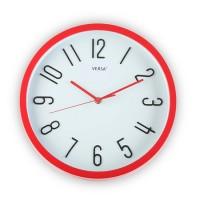 Reloj de pared marco rojo fondo blanco 30cm