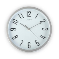 Reloj de pared marco plateado fondo blanco 30cm