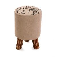Taburete puff redondo patas madera y textil beige estampado Nº1 30x30x45h cm