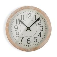 Reloj de pared marco madera y esfera beige números en relieve Ø51 cm