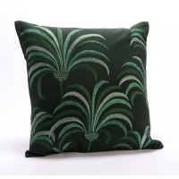 Cojín algodón con relleno fondo verde oscuro con palmeras bordadas 40x40 cm
