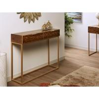 Consola madera acacia tallada y estructura metálica dorada con 2 cajones 100x30x80h cm