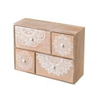 Mueble de sobremesa madera joyero 4 cajones madera y mandalas blancos 30x10x22h cm