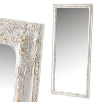 Espejo marco madera color blanco y dorado envejecido relieve clásico romántico 72x162h cm